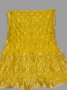 Yellow with Golden Border Dupatta - Fancy material