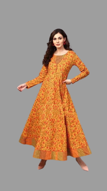 Yellow Mustard Floral Kurta Long Gown