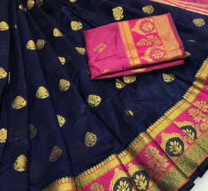 Blue Weaving Saree with contrast border