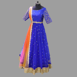 Net Gown with multi-colored Duppatta