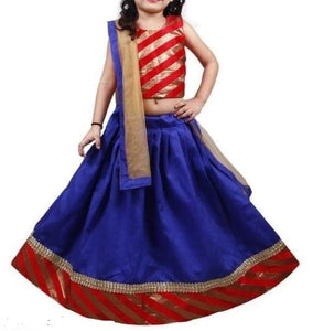 Designer Blue Lehenga with Red Blouse - Age 6-9