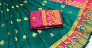 Peacock Green Weaving Saree with contrast border