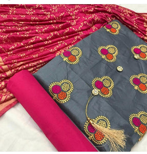 Satin Glace cotton with printed dupatta-8