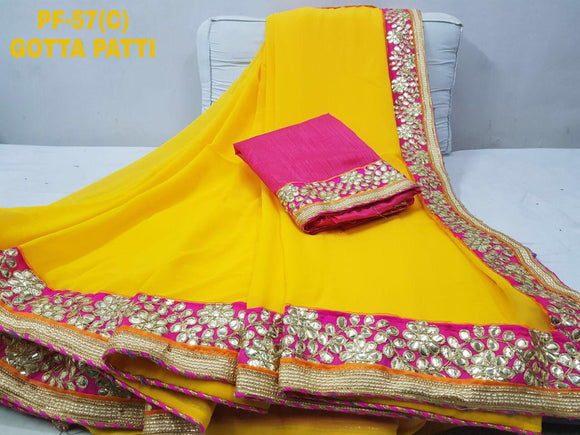 Georgette Saree with heavy Gottapatti Border