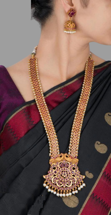 Traditional Collection- Red stone heavy long necklace with dollar & ear-rings