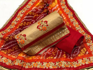 Modal Chanderi Semi-Stitched - Gold & Red