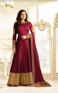 Maroon Silk Long Gown