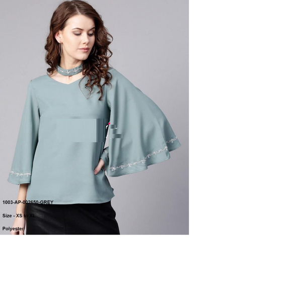 Greyish Light Blue Embroidered Choker Neck Top