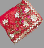 Red Organza Dupatta with Gotta work