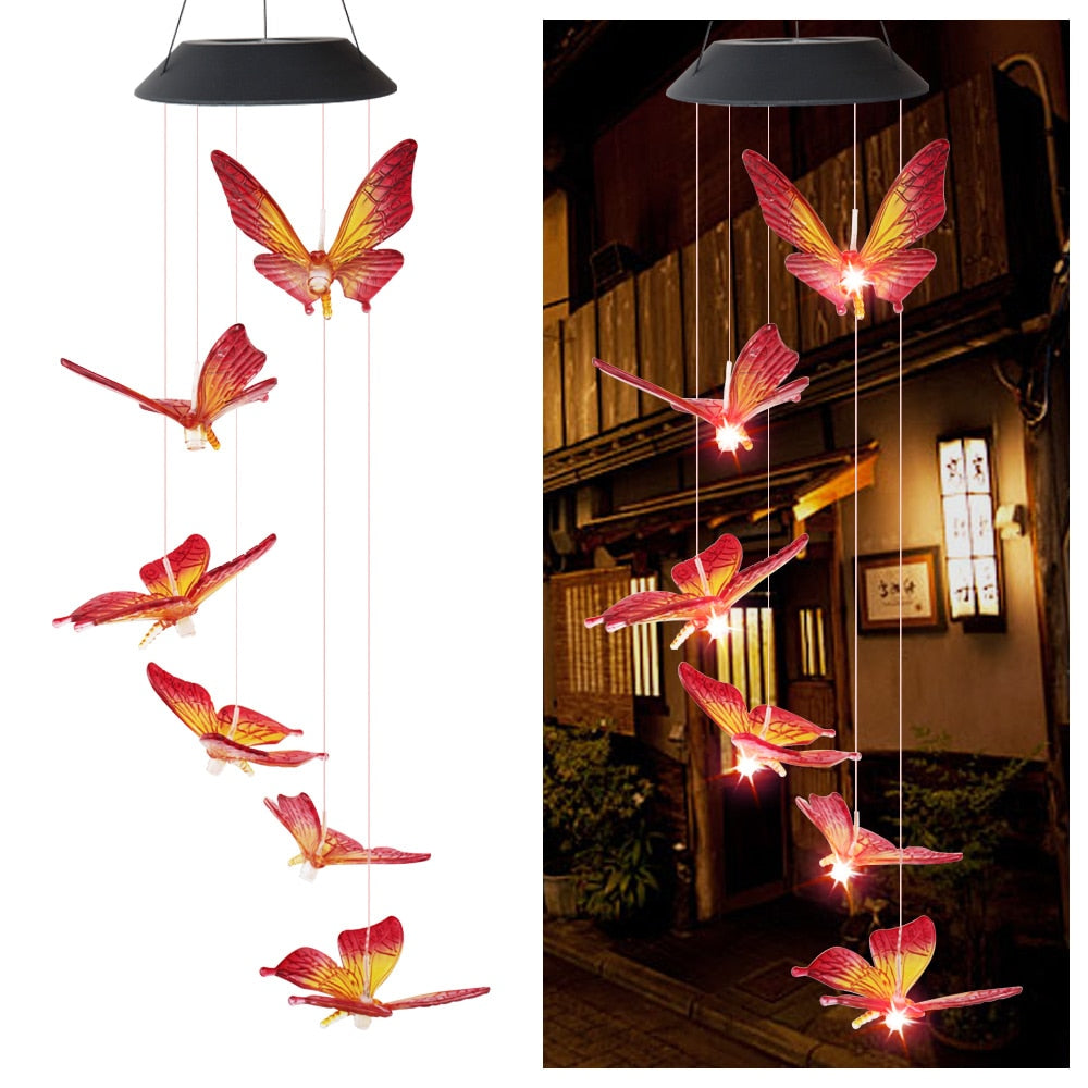 Solar Powered Butterfly Windchime