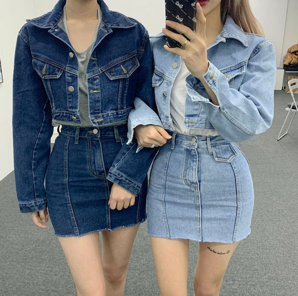 kpop denim outfit