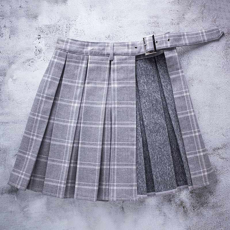 Macchiato Adjustable Side Slit Plaid School Girl Skirt