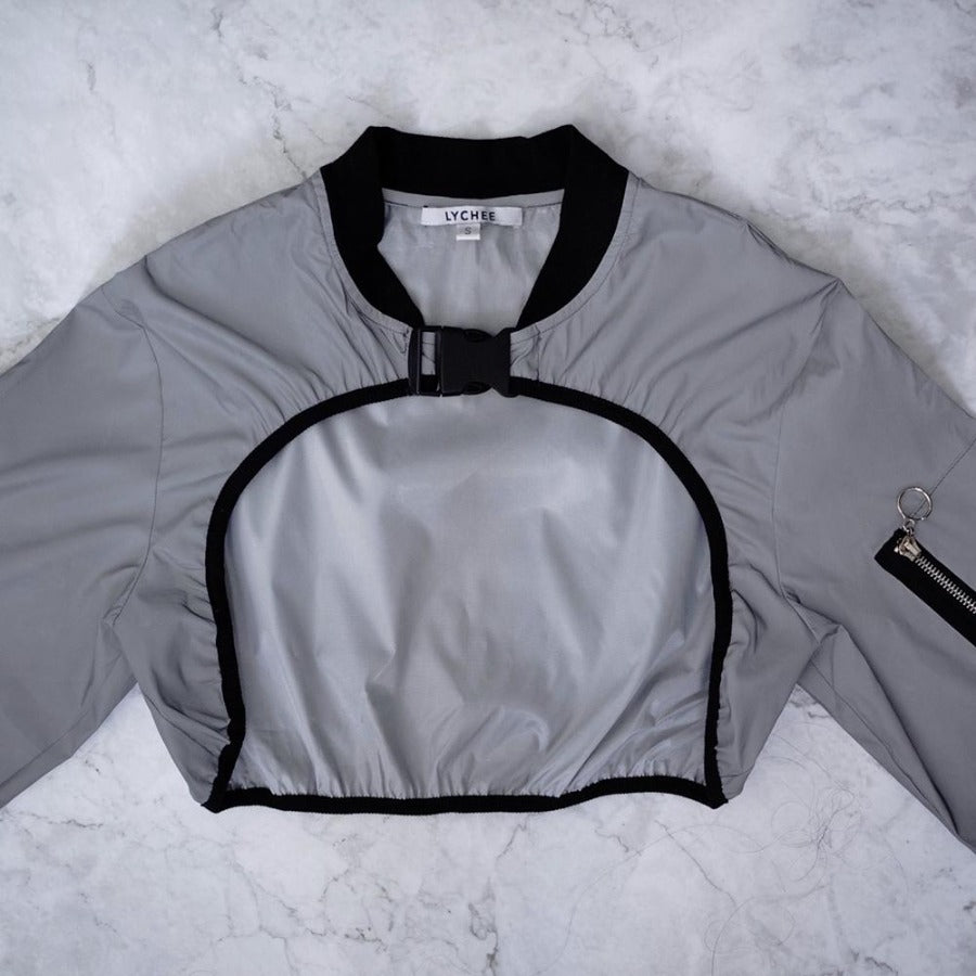 Lychee the Label Gelato Reflective Cropped Buckle Bomber Jacket