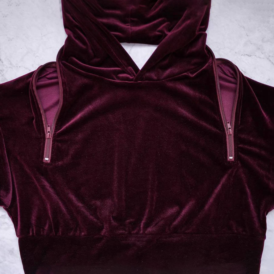 Red Velvet Open Back Detail Hoodie