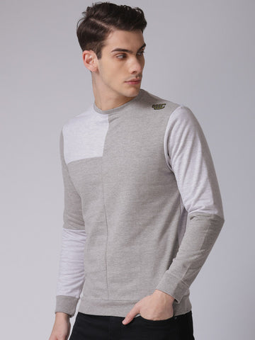 Men Grey Colourblocked Sweatshirt