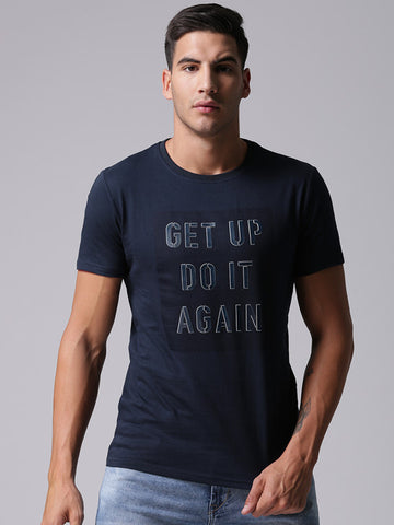 Men Navy Printed Round Neck T-shirt