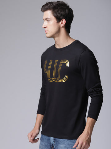 Men Black Printed Round Neck T-shirt