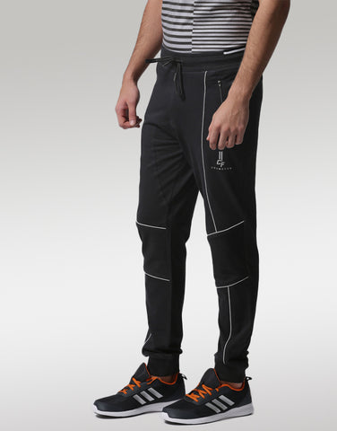 Men Black Panelled Joggers