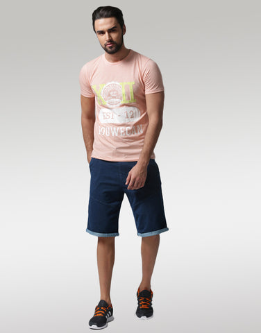 Men Navy Blue Solid Regular Fit Denim Shorts