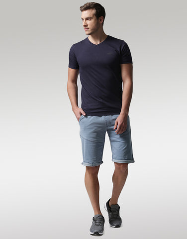 Men Blue Solid Regular Fit Denim Shorts