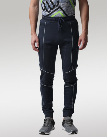 Men Blue Panelled Joggers