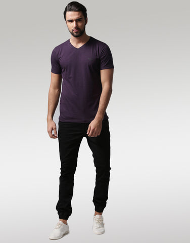 Men Purple Solid V-Neck T-shirt