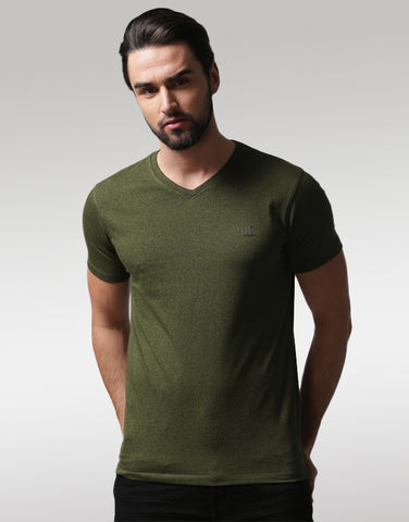Men Olive Green Solid V-Neck T-shirt