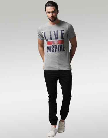 Men Grey Melange Typography Printed Round Neck T-shirt