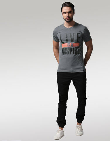Men Charcoal grey Typography Printed Round Neck T-shirt