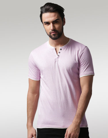 Men Lavender Solid Layered Henley Neck T-shirt