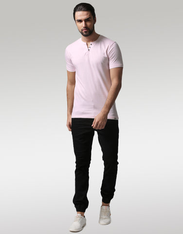 Men Pink Solid Layered Henley Neck T-shirt