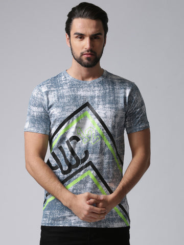 Men White Printed Round Neck YMT-4025A T-shirt