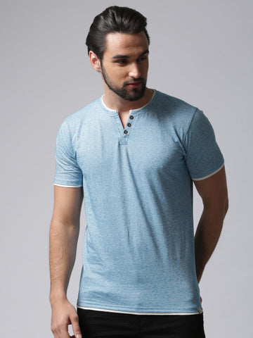 Men Blue Solid Henley Neck T-shirt