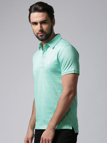 Men Green Striped Polo Collar T-shirt