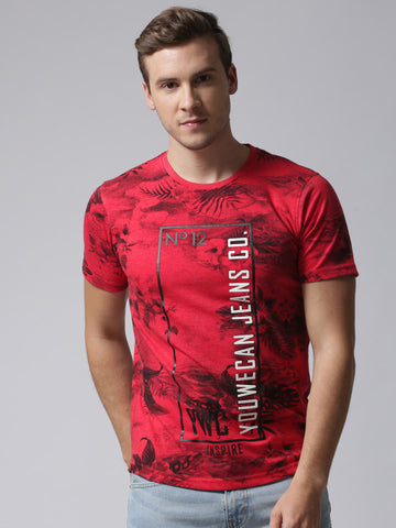 Men Red Printed Round Neck YMT-4005A T-shirt