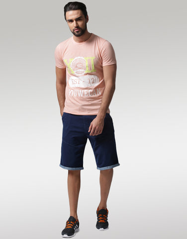 Men Peach-Coloured Typography Print T-shirt