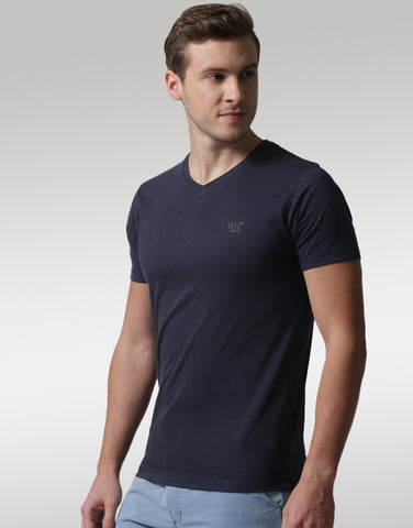 Men Navy Round Neck T-shirt