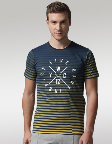 Men Navy & Mustard Yellow Typography Print T-shirt