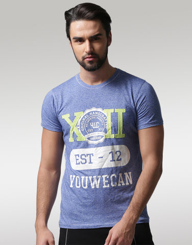 Men Blue Typography Print T-shirt