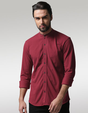 Men Maroon Regular Fit Solid Casual Shirt