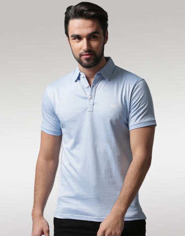 Men Blue Solid Polo T-shirt
