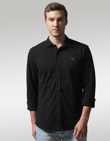 Men Black Regular Fit Solid Casual Shirt