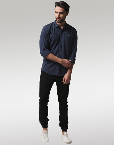 Men Navy Blue Slim Fit Solid Casual Shirt