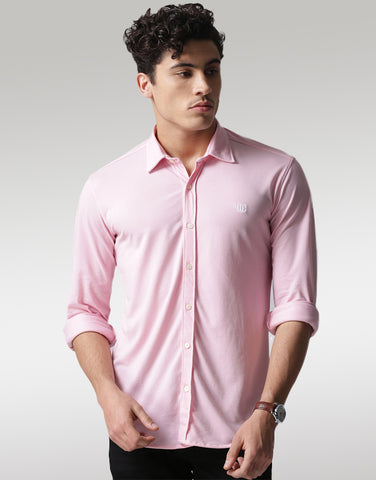Men Pink Classic Slim Fit Solid Casual Shirt