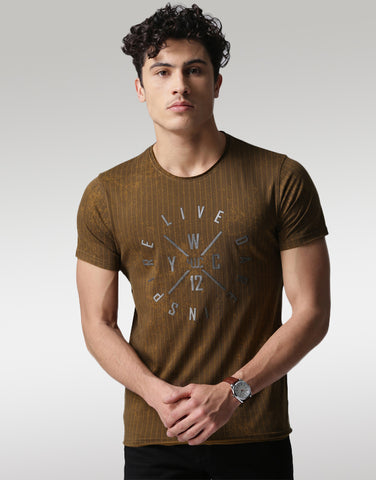 Men Brown Printed T-shirt