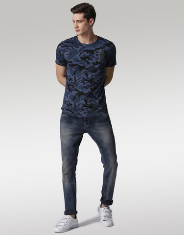 Men Navy Blue Camouflage Printed T-shirt