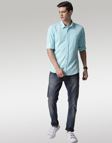 Men Blue Classic Slim Fit Solid Casual Shirt