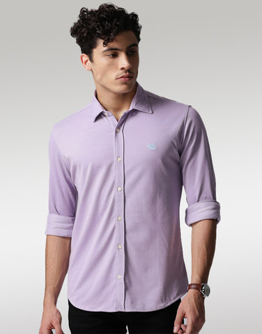 Men Lavender Classic Slim Fit Solid Casual Shirt