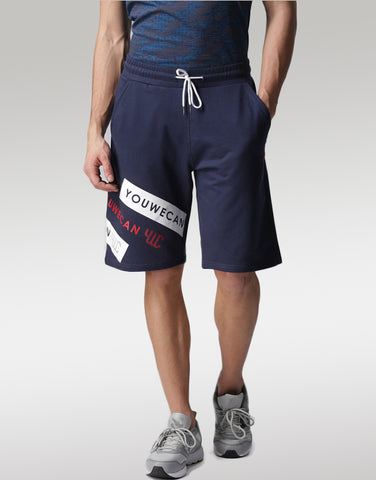 Men Navy Printed Regular Fit Sports Shorts