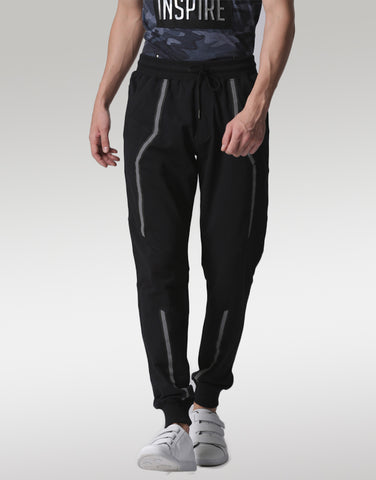Men Black Joggers with Refelectors